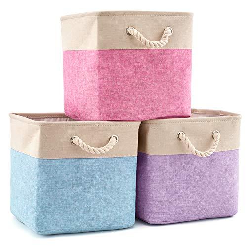 EZOWare Faltbare Aufbewahrungsbox in Würfel Lagerung Korb Schrank Würfel Aufbewahrungskörbe mit Griffen (33 x 33 x 33 cm) für Spielzeug, Büro, Schrank, Zuhause (Gemischte Farbe) -