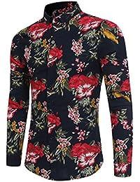 Camisas Hombre con Estampado De Floral Los Hawai LHWY, Camisas De Solapa Manga Largo Camisas Tallas Grandes Casuales…