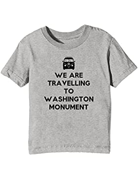 We Are Travelling To Washington Monument Niños Unisexo Niño Niña Camiseta Cuello Redondo Gris Manga Corta Todos...