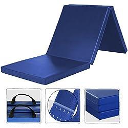 WolfWise 180x60 cm Colchoneta Gimnasia Deportiva Alfombra Yoga Colchoneta de espuma EPP Ejercicio Extra Gruesa De 5cm De Espesor, Azul