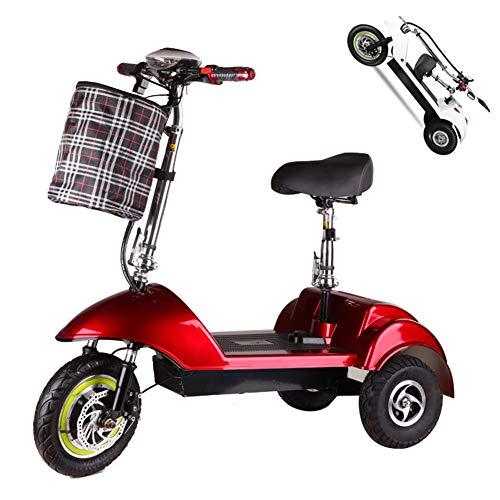 Triciclo eléctrico adulto,150 kg Carga máxima,Movilidad eléctrica de Triciclo Plegable y portátil Ciclomotor eléctrico con 3 ruedas,,batería de Litio 350W...