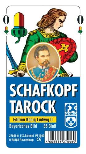 Ravensburger 27046 - Schafkopf/Tarot, Bayerisches Bild Edition König Ludwig II - 36 Blatt, glasklares Etui -