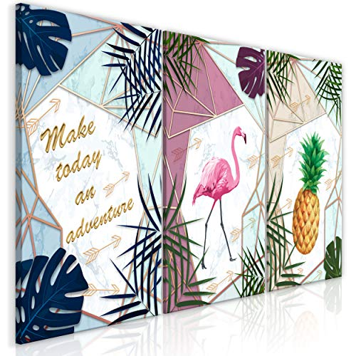 decomonkey Bilder Modern Blätter 60x30 cm 3 Teilig Leinwandbilder Bild auf Leinwand Vlies Wandbild Kunstdruck Wanddeko Wand Wohnzimmer Wanddekoration Deko Ananas Pineapple Flamingo Textur -