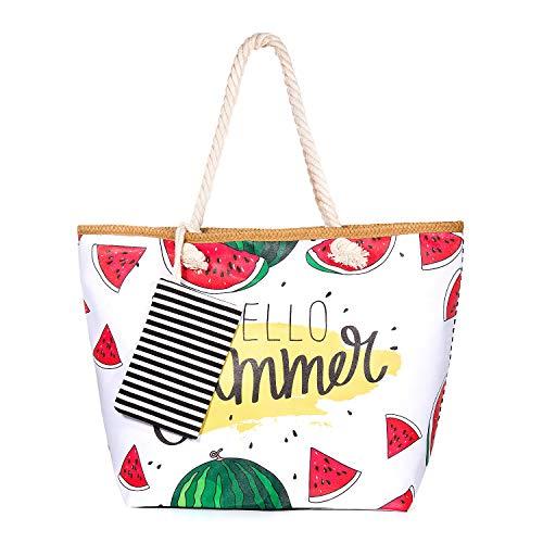 zedela Große Strandtasche mit Reissverschluss, Damen Canvas Schultertasche Tasche, Einkaufstasche für Reise, Kaufen, Ausflug usw (Wassermelone)