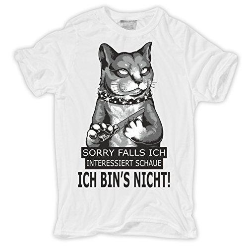 Männer und Herren T-Shirt Falls ich interessiert schaue ICH BIN'S NICHT Weiß