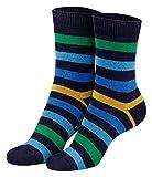 Piarini 2 Paar Kinder Stoppersocken ABS Socken Anti Rutschsocken Noppen Baumwolle Jungen Mädchen Navy Gr. 23 24 25 26