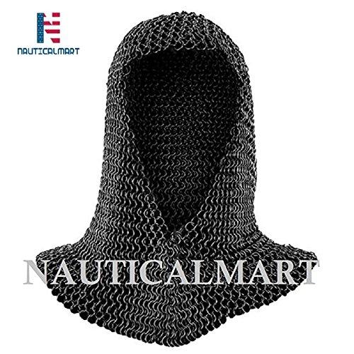 ches Mart LARP Armor Mittelalter schwarz Kettengeflecht Bundhaube - V Form Schlacht Armour Kostüm (Fechten Kostüm Schwarz)