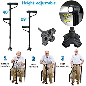Mobility Walking Stick with light | Folding & Height Adjustable | Free Standing | Push Up Extra Handle