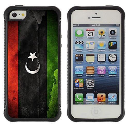 Graphic4You Vintage Uralt Flagge Von Iran Iraner Design Shockproof Anti-Rutsch Weichen Hülle Case Tasche Schutzhülle für Apple iPhone SE / 5 / 5S Drapeau Libyen Libye