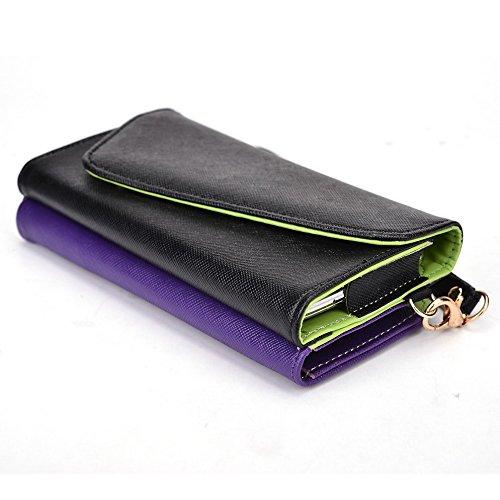 Kroo d'embrayage portefeuille avec dragonne et sangle bandoulière pour Archos 50C Oxygen Black and Green Black and Purple