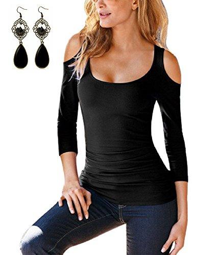Sitengle Damen Enge Langarmshirt Off Shoulder Casual Solide Slim fit T Shirt Bluse Oberteile Tunika Tops Schwarz