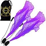 Pro ANGEL POI Set (Purple) Flames N Games Spiral Poi +Stoff Reisetasche! Swinging Poi und Spinning Pois! Pois für Anfänger und Profis.