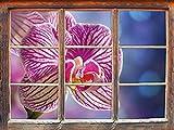 orchidée coloré en gros plan Fenêtre en 3D look, mur ou format vignette de la porte: 92x62cm, stickers muraux, sticker mural, décoration murale