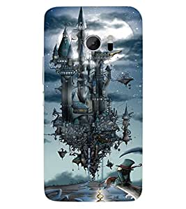ColourCraft Flying Castle Design Back Case Cover for HTC ONE M10