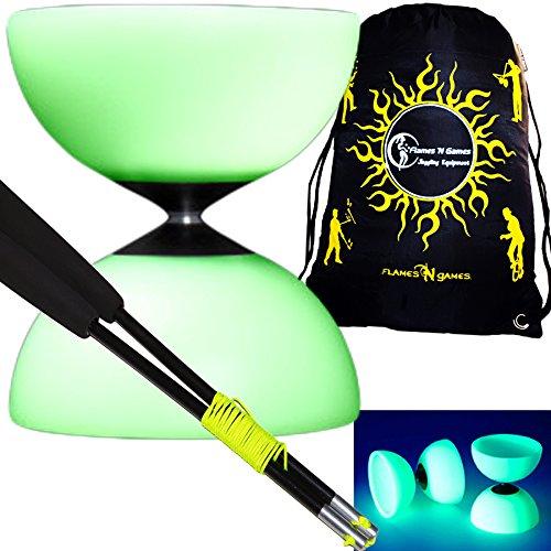 Mr B Millennium Glow in The Dark Diabolo Set + Diablo Hand Sticks, String & Diabolos Travel BAG! (Glow Diabolo+Fiber Sticks) by Mr Babache Glow Diabolo -