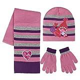 Trolls 2200-2446 Set 3 Pezzi, Coordinati Invernali, Cappello, Sciarpa, Guanti, Bambina, Multicolore, Principessa Poppy