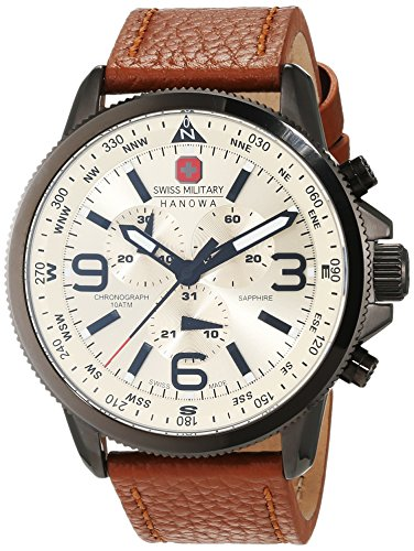 Swiss Military Men's Quartz Watch with Beige Dial Chronograph Display and Brown Leather Strap 6-4224.30.002
