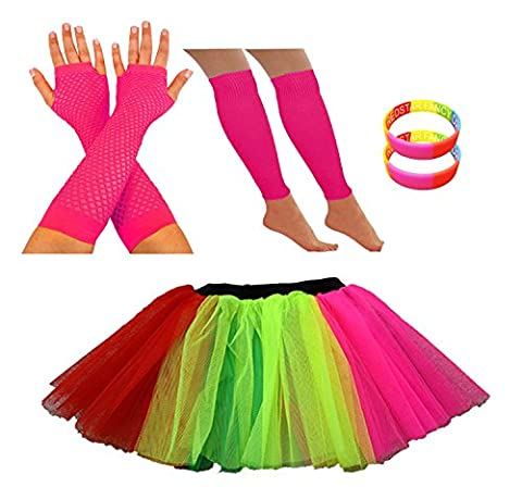 REDSTAR FANCY DRESS® TUTU SKIRT PACKAGE INCLUDING LEG WARMERS FISHNET GLOVES AND RAINBOW WRISTBANDS (8-12 UK, Rainbow)