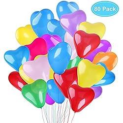 80 pcs Globos forma corazón distintos colores