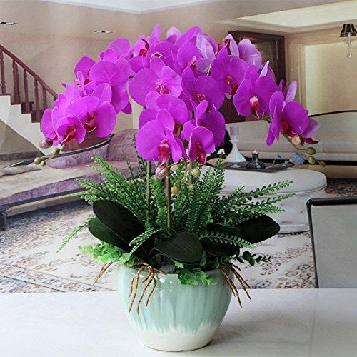 Jnseaol Kunstblumen Orchidee Keramiktopf Diy Hochzeit Hotel Party Küche Fensterbank Eine Große Dekoration Muttertag Geschenk Lila -01