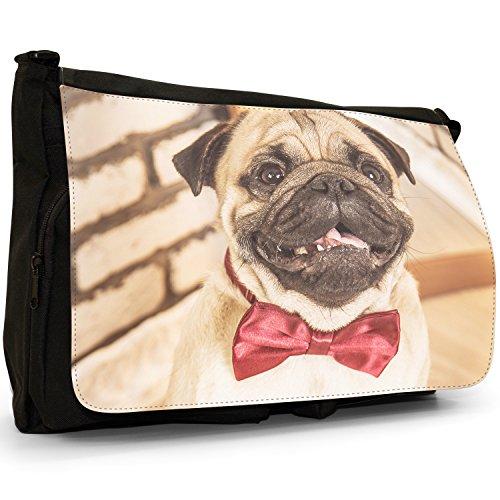 Tie Love Dressed Per In a Borsa Messenger borsa Bow Little Carlino Pugs Pug Tela Grande Laptop Cani tracolla Nera scuola qg4axHw5n
