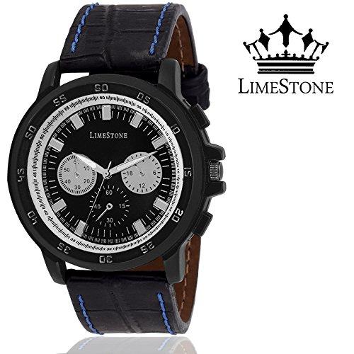 LimeStone Series Yuva R7 Round Casual Analog Black Genuine Leather Strap & Black Dial Men\'s / Boy\'s Wrist Watch - LS2626