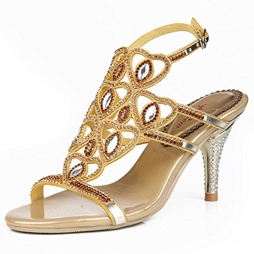 9dad4b04821be5 crystal sandals women diamond handmade thin high heels leather night club  party strap buckle hollow evening banquet pumps shoes . gold . 43