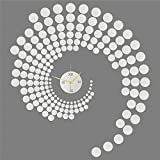Forepin® Unique Modern Design Home Office Decor 3D Frameless DIY Large Wall Sticker Clock Watches Mirror Effect Decal Home Decoration PS Plastic Mini Circles Pattern Set - Silver