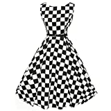 Kleider Damen Dasongff Frauen Abendkleid Elegant Cocktailkleid Kleider Vintage Kleid Mid-Calf Partykleid Plaid Sleeveless Kleider Swing Kleid Minikleid (2XL, Schwarz)