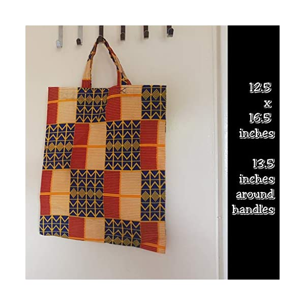 Ankara African Wax print Tote Shopper Bag - Kente print - handmade-bags