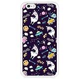 Hapdey Coque Étui pour [iPhone 6 Plus - 6S Plus] avec l`estampillage, Design [Lama Licorne dans l`Espace - Welcome to The Moon] Couleur [Transparente] Smartphone, foto