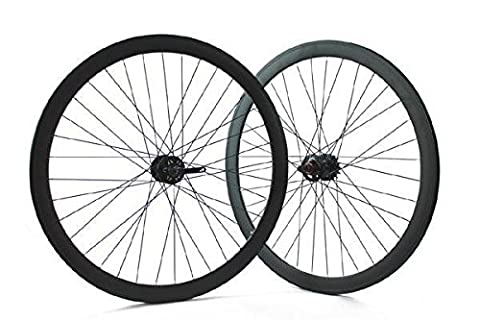 Ridewill Bike Paire Roues clipser fixe piste Frein à disque profil 43 mm Noir mat (clipser fixe)/pair of Single Speed Wheels height of the Rim 43 mm brake Disk Black (Fixed Wheel)