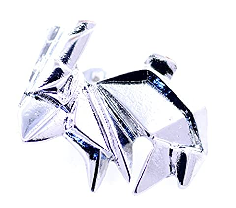 Lizzyoftheflowers - Super cute paper folding origami bunny rabbit silver coloured brooch, pin