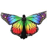 OVERDOSE Frauen 197 * 125CM Weiche Gewebe Schmetterlings Flügel Schal feenhafte Damen Nymphe Pixie Kostüm Zusatz (260 * 150CM, F-Multicolor)