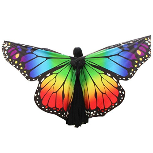 Schmetterling Damen Kostüm - OVERDOSE Frauen 197 * 125CM Weiche Gewebe Schmetterlings Flügel Schal feenhafte Damen Nymphe Pixie Kostüm Zusatz Für Show (260 * 150CM, F-Multicolor)
