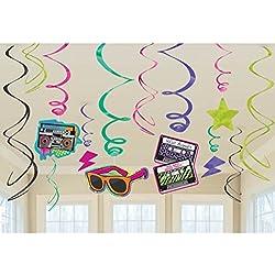 12 Stk. Hänge Deko 80er Jahre Party Spirale 80`s Girlande Mottoparty Hängedeko Geburtstag Partydeko