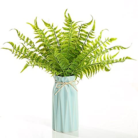 Luyue 4pcs Artificial Boston Ferns Bush Natural Bush Fake Plastic Leaves Greenery Outdoor Home Garden Balcony Gallery Decor (Bosten fern Green)