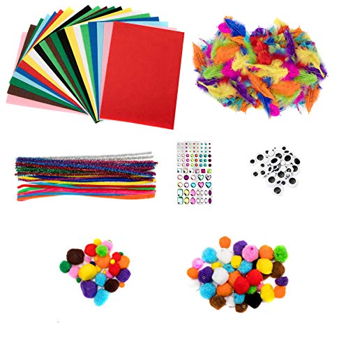 edukit Fun and Educational 280pc Art & Craft Materials Bumper Pack - Felt Sheets Pipe Cleaners Pompoms, Sticky Goggle Eyes, Gem Stickers and Coloured Feathers for Kids Toddlers & Children
