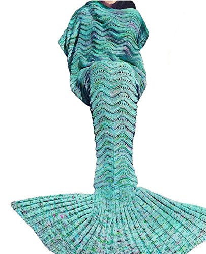 Sirena sirena coda coperta, coperta per adulti, Netchain sirena coda coperta per adulti e Kidt, Crotchet Kids sirena coda coperta per ragazze, super morbido pelo per tutte le stagioni coperte, Green, 71x35.5