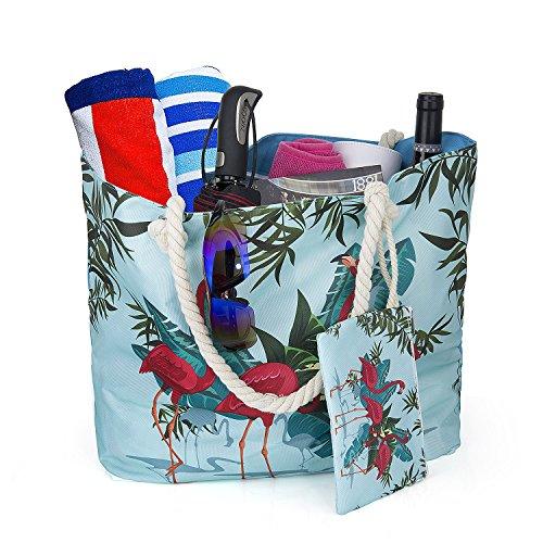 Große Wasserdicht Strandtasche mit Reissverschluss, ZWOOS Damen Shopping Shopper Tasche Reisetasche Canvas Schultertasche für Reise, Kaufen, Ausflug usw. Flamingo 3
