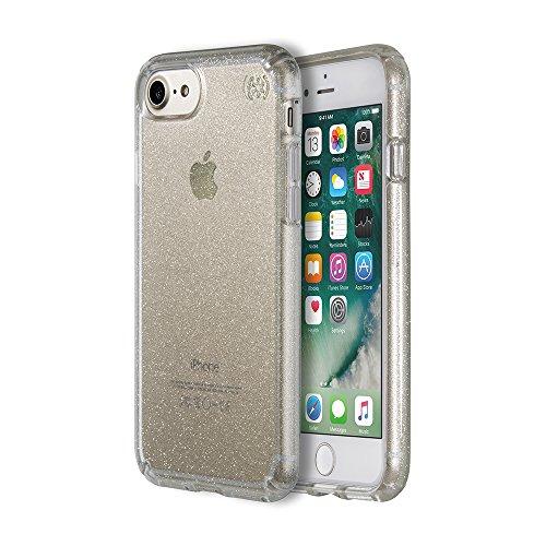 Speck Presidio Clear + Print Coque Transparente Imprimée pour iPhone 7 Plus - Argent/Transparent à Pois Transparent/Or Brillant