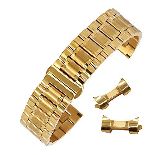 18mm hervorragender solider 304 Edelstahl Uhrenband Armband mit abnehmbarem Link Faltschliesse in Gold