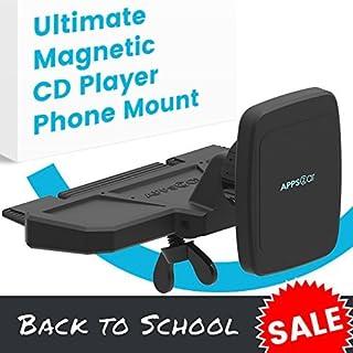 [Intro Preis] APPS2CAR Ultimate magnetisch CD Player Phone Halterung ist universell kompatibel w/Android + iOS Geräte + alle KFZ CD-Player, Superior greifen Power dank Sechs Magneten.
