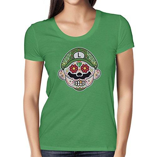 NERDO - Mexican Luigi - Damen T-Shirt, Größe M, grün (Donkey Kong Kostüm Shirt)