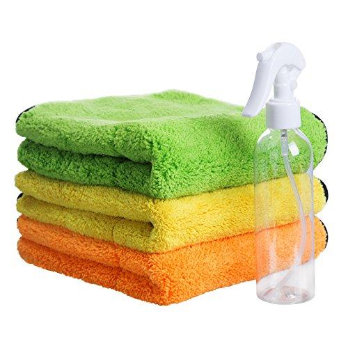 Mikrofasertücher Set, Magiin 3er/Set 840GSM Reinigungstücher Auto Poliertuch Mehrfunktional Dick Handtuch 45 x 38cm mit 200ml Sprühflasche zum Waschen Putzen Polieren Trocknen