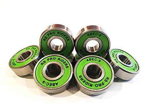 RS Pro Riders ABEC 9608Kugellager für Skateboard, Grün, 8x 22x 7mm, 8 Stück