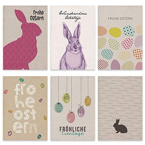 Papierdrachen Set di carta da pacchi pasquale - 12 cartoline di Pasqua realizzate con amore - set di biglietti di auguri