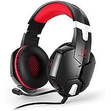 EasySMX Auriculares para PS4, G1200 Auriculares Estéreo para PS4/PC/Laptop/Móvil/Pad con Micrófono Ajustable y Controlador de Volumen con una Tecla Mute (Rojo)