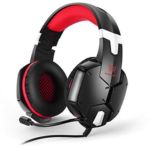 EasySMX [PS4 Auriculares Gaming Headset] G1200 Ofertas Auriculares Estéreo para PS4/ PC/ Laptop/ Móvil/ Pad con Micrófono Ajustable y Controlador de Volumen con una Tecla Mute (Rojo)