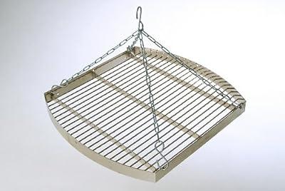 acerto Ungarischer Grillrost (60cm) mit Dreibein (180cm) & Kette ? Verchromt ? Mit Außenring ? Besonders robust | Grillgitter zum Aufhängen am Dreibein | Gitterrost, Grillauflage für Schwenk-Grill